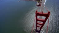 Aerial circling over Golden Gate Bridge and Fort Point in direction of San Francisco terminus / San Francisco Bay, California