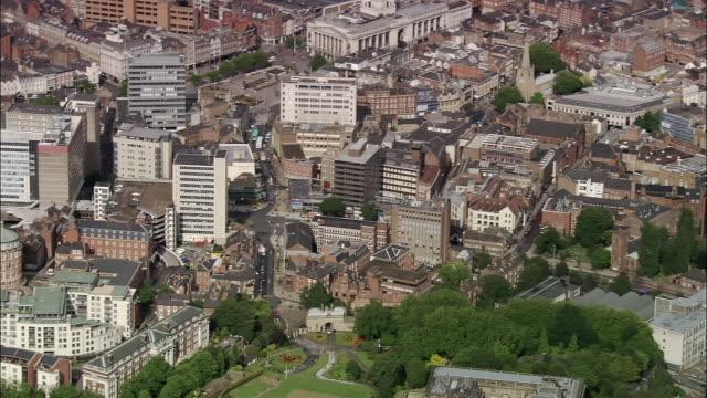 Aerial city center of Nottingham / Nottinghamshire, England