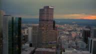 Aerial cityscape at sunset/ Denver, Colorado