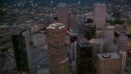 Aerial cityscape at twilight/ Denver, Colorado