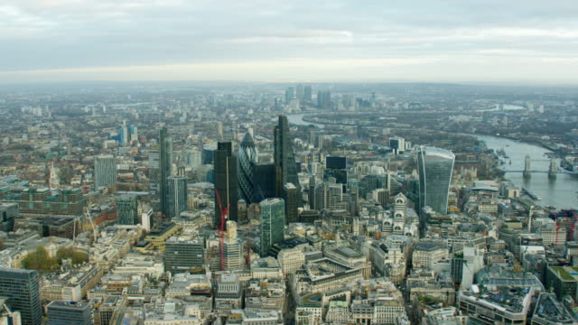 Aerial cityscape view over City of London UK