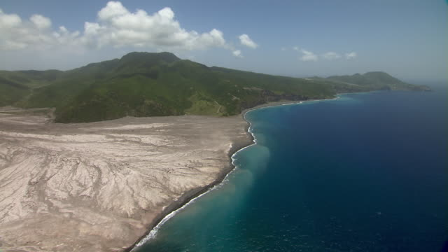 Aerial coastline of Montserrat Island in the Caribbean.