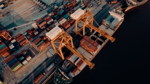 Aerial containers in container ship in harbor