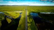 Luftaufnahme : Ländliche Straße in Island