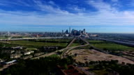 Aerial: Dallas Texas Sunny Daytime over Lowering down on south side looking towards Downtown