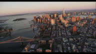 Aerial Downtown Manhattan Sunset