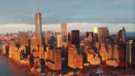 Aerial Downtown Manhattan to Midtown Manhattan Time-lapse at Sunset