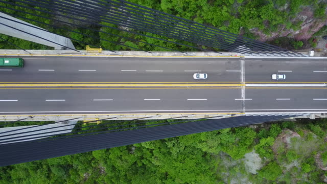 Aerial drone footage of a bridge in Mexico