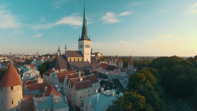 Aerial drone footage of Tallinn Old Town