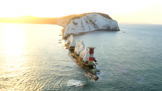 Aerial Drone Isle of Wight Needles Alum Bay