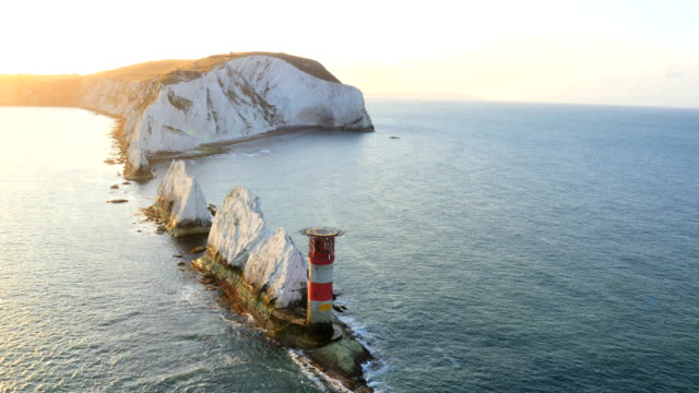 Aerial Drone Isle of Wight Needles coastline Channel