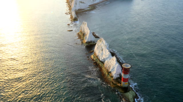 Aerial Drone Isle of Wight Needles UK Lighthouse