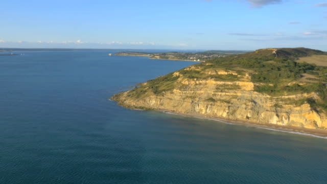 Aerial Drone Needles Alum Bay UK tourism travel