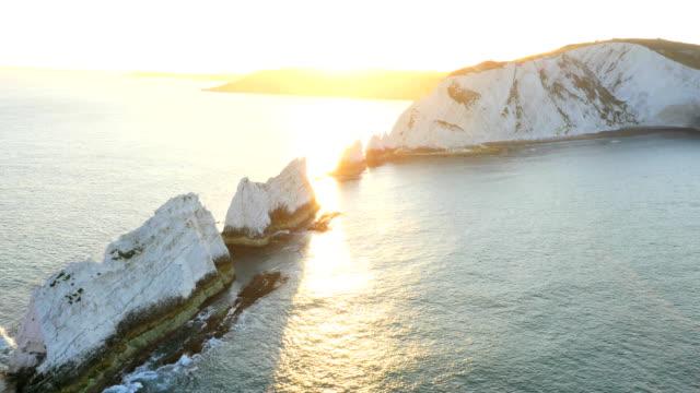 Aerial Drone Needles UK Lighthouse Helipad sea sunrise