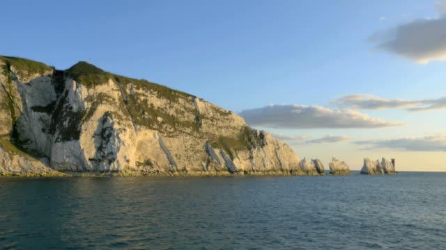 Aerial Drone Needles UK sea Alum Bay tourism