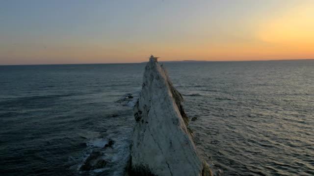 Aerial Drone Needles UK sea Helipad tourism coastline
