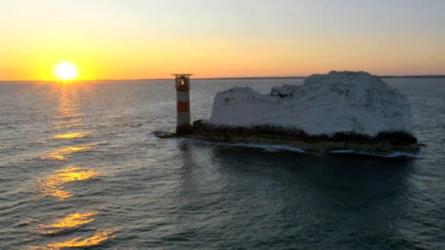Aerial Drone Needles UK sea Helipad tourism travel