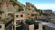Aerial Drone Shot of Gunkanjima one of the UNESCO World Heritage sites