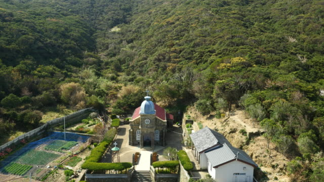 Aerial drone shot of historical church in Nagasaki, Japan.