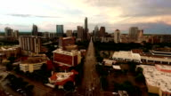 Aerial Drone Shot Over Austin Texas Capital Cities Moving Away from Downtown over Congress Avenue