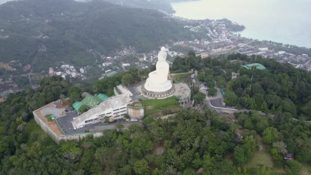 Aerial drone view of Big Buddha a 45 meter tall marble statue high atop Phuket Island