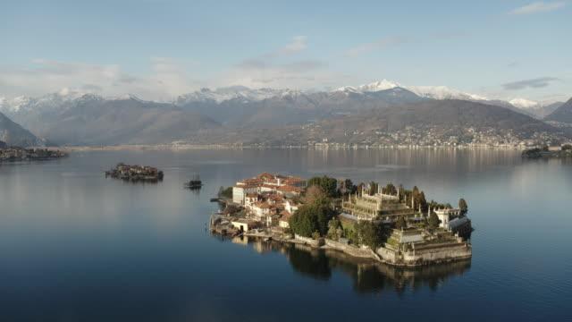 Aerial drone view of Borromean islands, Lake Maggiore, Italy
