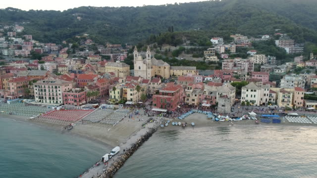 Aerial drone view of coastal town Camogli and beach