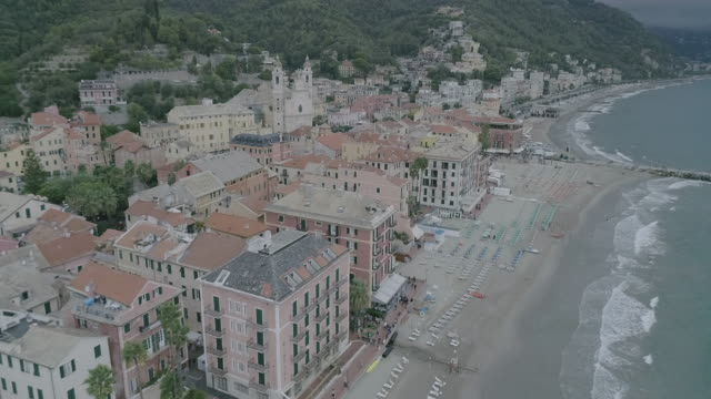 Aerial drone view of coastal town Camogli, beach and sea