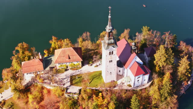Aerial drone view of famous lake Bled in autumn, Slovenia