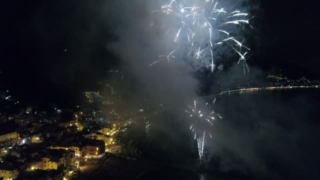 Aerial drone view of fireworks over Camogli and sea