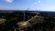 Aerial Drone View of Large Wind Turbine Farm north of Austin Texas near Goldthwaite