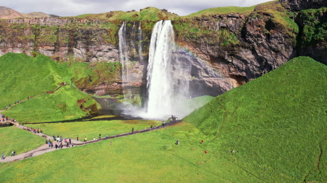 Aerial drone view of Seljalandsfoss waterfall in Iceland
