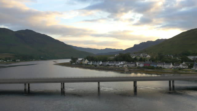 Aerial dusk view of Dornie village Loch Duich