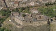 Aerial Edinburgh Castle on Castle Rock in central Edinburgh, Scotland