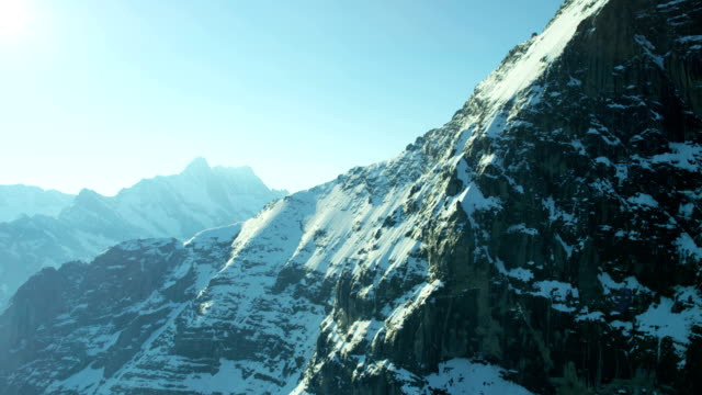 Aerial Eiger Swiss Grindelwald Rock climbing snow ice