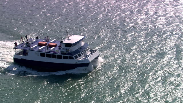 Aerial ferry and catamaran ferry/ Southampton, England