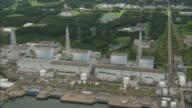 Aerial file footage of the Daiichi Nuclear Power Plant in Fukushima Japan before being hit by the March 2011 Earthquake Footage courtesy of Tofuna...