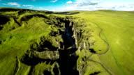 Aerial : Fjadrargljufur Canyon Landscape in Iceland