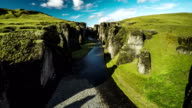 Aerial : Fjadrargljufur canyon with river - Iceland