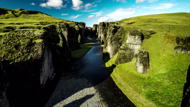 Aerial : Fjadrargljufur canyon with river - Iceland