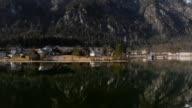 Aerial flight over lake Hallstatt