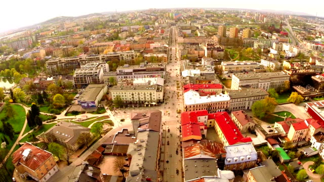 Aerial flight view of Kielce old town, Poland
