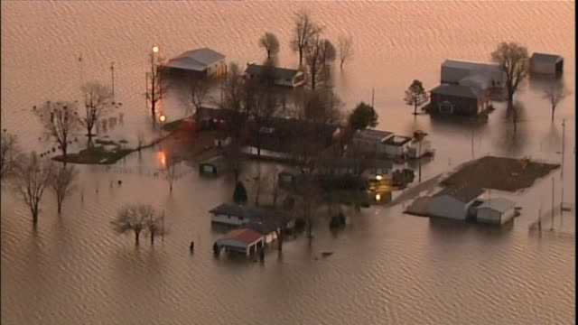 KTVI Aerial Flood Waters Cover Bottoms of Homes and Businesses in St Louis on December 30 2015