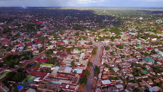 Aerial flying high over residential area, daytime Lubumbashi, Congo, Africa