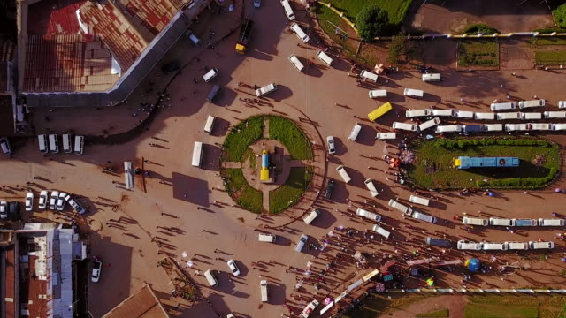 Aerial flying looking directly down on city of Lubumbashi, Congo, in Africa