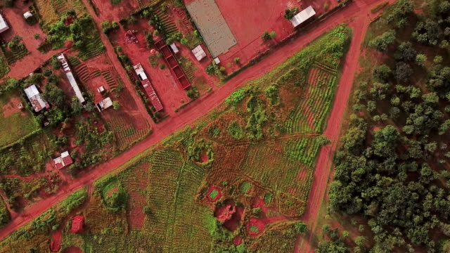 Aerial flying looking directly down on rural area, Congo, in Africa