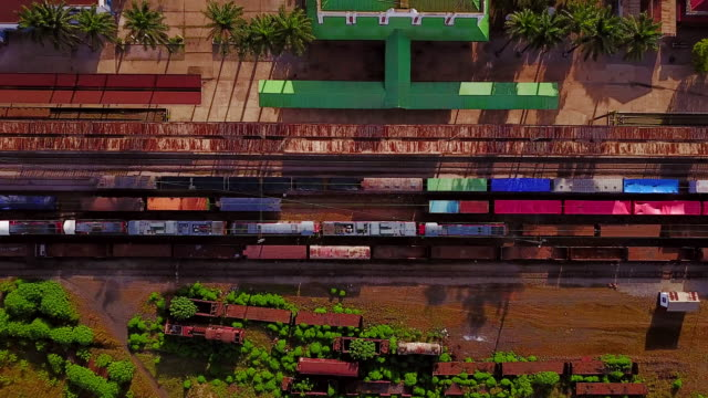 Aerial flying looking directly down on train tracks Lubumbashi, Congo, Africa