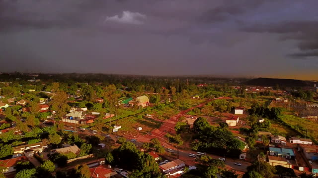 Aerial flying low over residential area, daytime Lubumbashi, Congo, Africa