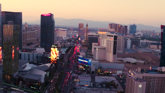 Aerial flying North over The Las Vegas Strip, Sunset