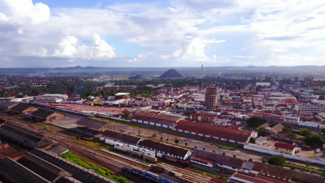 Aerial flying over city of Lubumbashi, Congo, in Africa